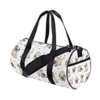 LIUBT Cute Pug Puppy Dog Pattern Sports Gym Travel Weekender Duffel Bag for Women and Men