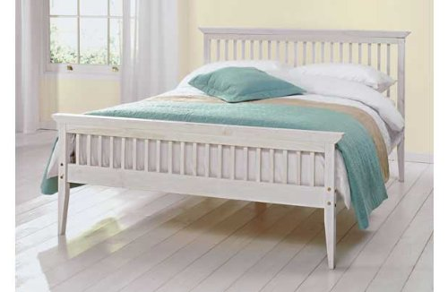 Comfy Living Double Bed Wood Frame - NEW 4ft6 Shaker White