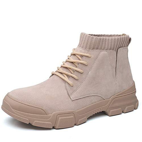 Yajie-shoes store, 2020 Herren Slipper & Mokassins Mens Ankle Boots for Männer Militärstiefel schnüren Sich Oben Leder Runde Toe Anti-Rutsch-runde Zehe-Socken-Kragen (2.5cm Aufzug Optional) Bequemes -
