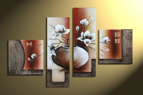 living room paintings. Wieco Art  Elegant Flowers Modern Stretched and Framed Artwork 4 Piece 100 Hand Painted Floral Oil Paintings on Canvas Wall Ready to Hang for Living Room Amazon co uk