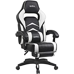 UMI Gaming Stuhl Bürostuhl Schreibtischstuhl mit Armlehne Gamer Stuhl Drehstuhl Höhenverstellbarer Gaming Sessel PC Stuhl Ergonomisches Chefsessel mit Fußstützen Weiß