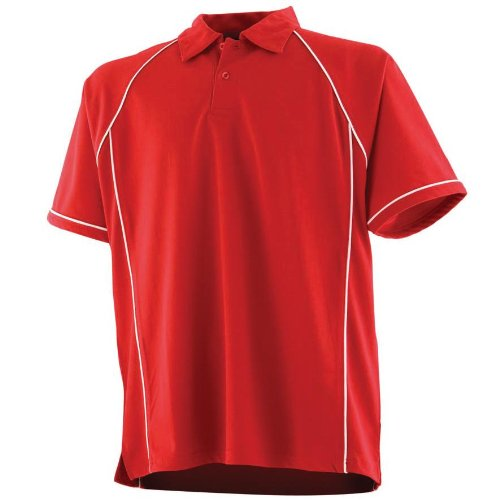 Finden & Hales Herren Poloshirt Mehrfarbig - Black/ Red