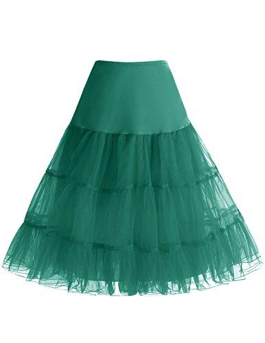 bbonlinedress Organza 50s Vintage Rockabilly Petticoat Underskirt DarkGreen S