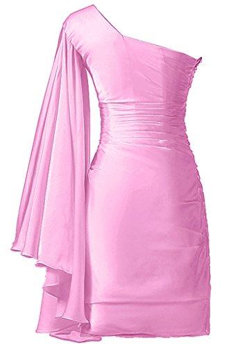 Sunvary Ein-Schulter mit Aermel Abendkleider Kurz Ballkleider Partykleider Rosa