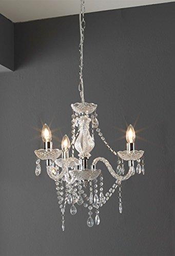 Kronleuchter Pendelleuchte Deckenlampe | Metall | Glas | Grau | ohne Leuchtmittel -