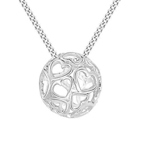 Tuscany Silver Rolokette Mit Anhänger Sterling Silber Ball Herzen Einstellbar 41cm/16zoll - 46cm/18zoll