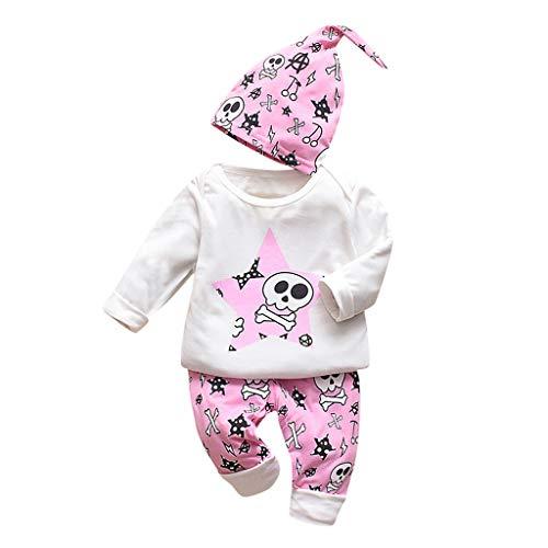 Trunlay Baby Mädchen Kleidung Set 3 Stück Lange Ärmel Karikatur Knochen Drucken Tops + Hose +Hut Outfits Baby Junge Kleider Set Bekleidungsset für 0-24 Monate -