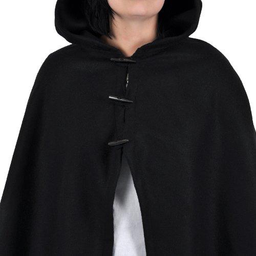 Mittelalter Umhang Damen Kapuze Knebelverschluss warm u wasserabweisend schwarz - 5