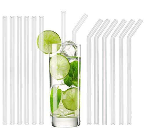 T&N Glas Strohhalm 12er Set - wiederverwendbare Strohhalme aus Glas - 6 gerade   6 gebogene Trinkhalme, 23 cm lang + 2 Bürsten – umweltfreundlich, handgefertigt – Smoothies & Cocktail-Strohhalme