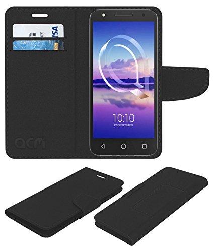 Acm Mobile Leather Flip Flap Wallet Case for Alcatel U5 Hd Mobile Cover Black
