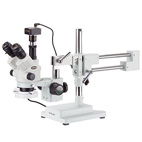 amscope 3,5x 180x simul-focal Stereo Boom Ständer Mikroskop mit eine Leuchtstofflampe und Kamera