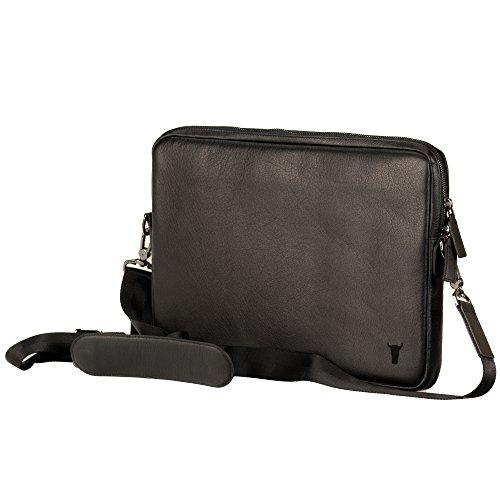 TORRO Laptoptasche/Hülle für iPad Pro 12.9. Schutzhülle aus echtem hochwertigem Leder für 13 Zoll Laptop oder MacBook mit Schultergurt. Handgefertigt aus echtem schwarzem Napa Leder. (Computer Napa)