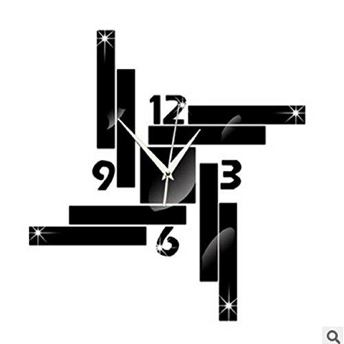 QYL Quadratische Geometrie Spiegel Uhr Wandaufkleber Schlafzimmer Wohnzimmer Wand-Dekor,Black