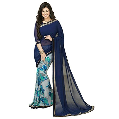 Sarees (Finix Fashion Women's Clothing Georgette Chiffon Printed New Material's in Blue Color Bollywood Stylish Saree Printed Fashion Saree Designer Wear Low Price Sale Offer buy online in Georgette Chiffon Printed Material New Free Size Beautiful Saree Best Offer For Women Party Wear Fashion Designer Sarees With Havy Work Blouse Piece Saree)  available at amazon for Rs.699