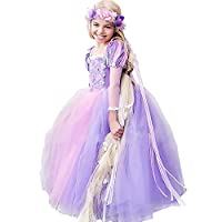 Girls Rapunzel Dress Costume Fancy Dress Christmas Hallowen Cosplay Party Outfit Dress Up Birthday Gifts for Kids, 8-9years(height 130cm), Purple