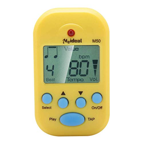 Kayool Mini Metronome, LCD Digital M50 Metronome Portable Clip-On Beat Tempo Metronome for Piano, Violin, Guitar, Trap Drum Portable (Yellow)