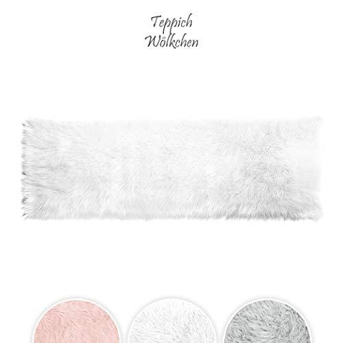 Teppich wölkchen tappeto in finta pelle di pecora-agnello | morbido e peloso per stanza da letto o soggiorno | tappeto soffice o copertura per divani e sedie | bianco - 120 x 170 cm - rettangolare