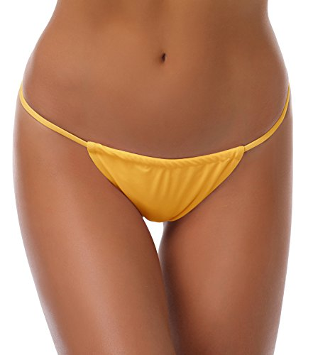 SHEKINI Damen Mini Tanga Bikinihose Micro String Bikinislip Unterhose Beweglich Band Badeslip Brazilian Unterteil (Small, Gelb) -