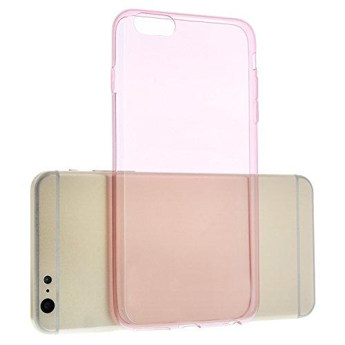 Transparent Pink TPU Silikon Case für iPhone 6, 6S Plus - 5,5 Zoll Schutzhülle Cover Schale Hülle Bumper - EXTRA Slim Dünn + Schutzfolie durchsichtig Rosa