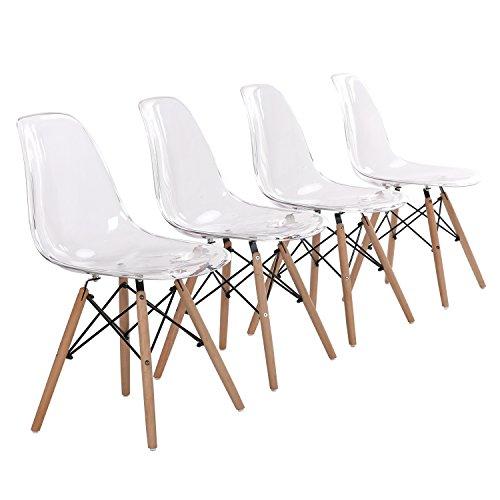 EGGREE Lot de 4 Chaise Transparente Scandinave Chaise Salle a Manger en Polycarbonate et Les Jambes de Design Rétro