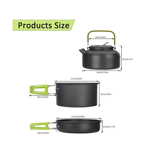Aitsite Camping Cookware Kit Outdoor Aluminum Lightweight Camping Pot Pan Cooking Set for Camping Hiking 3