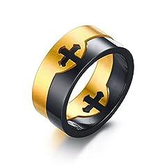 Idea Regalo - Aruie Anello di Fidanzamento da Uomo in Acciaio Inox 2 in 1 con Doppia Croce crocifisso Puzzle, Rimovibile, Oro e Argento e Nero e Oro, X1/2, cod. AJR10106