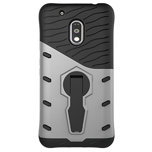 Für Moto G4 Play Case Neue Rüstung Tough Style Hybrid Dual Layer Rüstung Defender Soft TPU / PC Rückseitige Abdeckung Fall mit 360 ° Stand [Shockproof Case] ( Color : Gold ) Silver