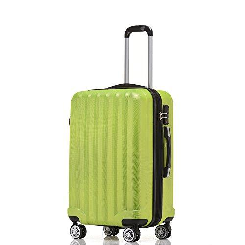 BEIBYE TSA-Schloß 2080 Hangepäck Zwillingsrollen neu Reisekoffer Koffer Trolley Hartschale Set-XL-L-M(Boardcase) in 12 Farben (Grün, 3tlg. Kofferset) - 2