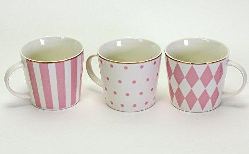 3 Porzellanbecher 3fach sortiert mit Goldrand Rosa Porzellan Geschenk Präsent Teetasse Becher Mug Kaffeebecher Küche
