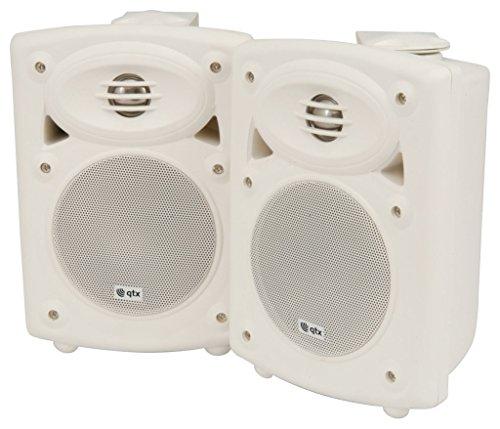 QTX 2-Wege-Stereo-Lautsprecher mit integriertem Verstärker - Weiß