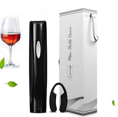 Apribottiglie automatico vino elettrico, cavatappi classico nero con taglierina a foglio, 4 batterie aa alimentate