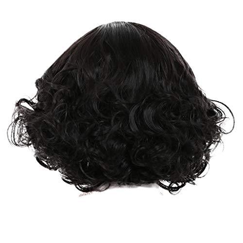 Damen Perücken ZYUEER Wigs Perücke Frauen Natürliche Balck Kurze Lockige Haar Bob Stil Cosplay Volle Haare