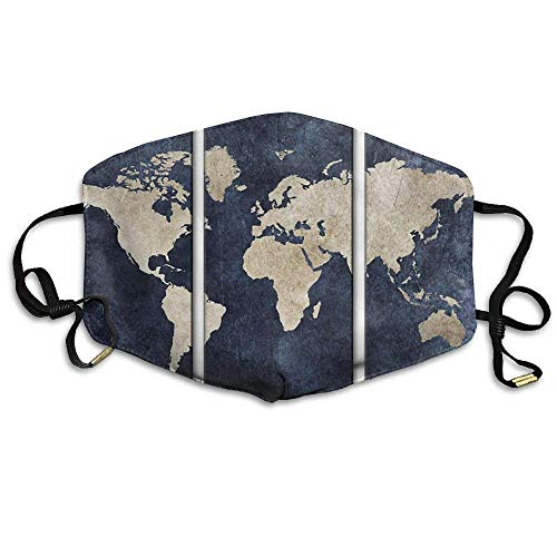 ßenmaske Map of The World Painting Printed Mouth Masks Unisex Anti-dust Masks Reusable Face Mask Soft and Breathable for Men Women Fashion Anime Black Nose Disposable Rave ()