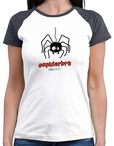 HARIZ  Damen Baseball Shirt Pixbros Spiderbro Halloween Kostüm Horror Kürbis Plus Geschenkkarten White/Navy M