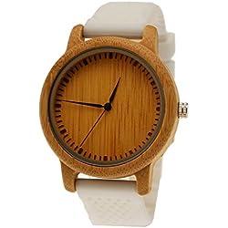 """Henny Klein designer Unisex Damen Herren Öko Natur Holz Armbanduhr Uhr mit Silikon Armband in Weiß """"limitierte edition"""" inkl. Uhrenbox"""