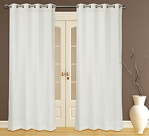 Zephyr Elegant Sheer Readymade Voile 2-Piece Eyelet/Ring Top Curtain Pair, 132x241cm, White