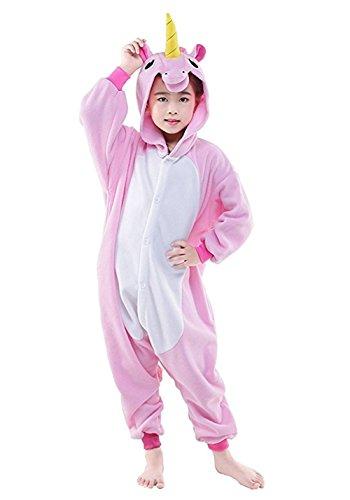 Z-Chen Pigiama Tutina Costume Animale, Bambina e Bambino, Unicorno rosa, 9-11 Anni
