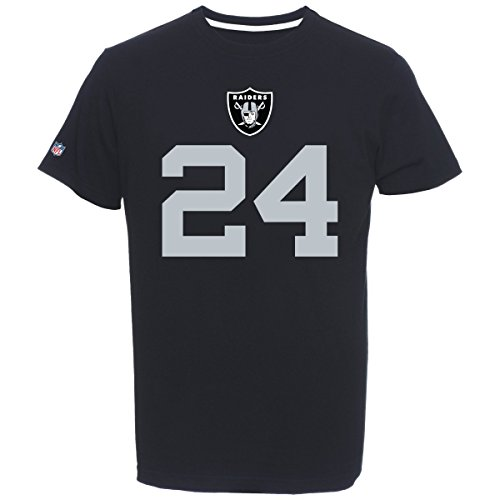 Fan T-shirt Jersey (Majestic Marshawn Lynch #24 Oakland Raiders Player NFL T-Shirt Schwarz, L)