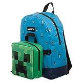 Minecraft Rucksack Sword & Axe mit Creeper Mini Bag blau grün