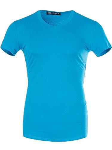 M446 ELEVEN Herren Basic Shirt T-Shirt Kurzarm V-Neck Clubwear V-Ausschnitt Royalblau
