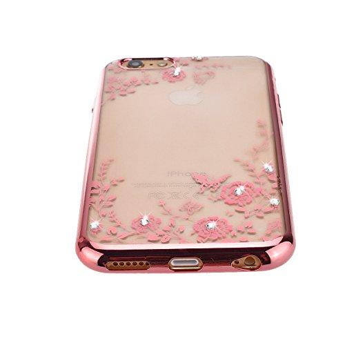 Coque Housse Etui pour Apple iPhone 6 Plus / iPhone 6S Plus (5.5 pouces), HB-Int Gold Bumper Coque en Silicone avec Bling Diamant Housse Papillon Fleur Blanche Motif Soft Gel Silicone Case Cover Prote Rose Fleur 1