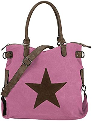 Bolso XL (45 x 37 cm), tejido de tela, diseño con estrella, color rosa, talla XL