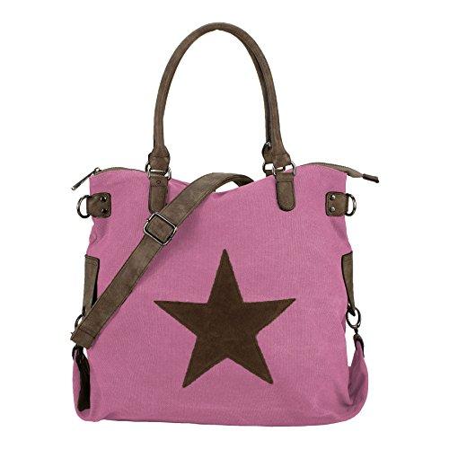 Starbag, borsa shopper in tela, motivo: stelle, 45x 37 cm(larghezza x altezza) Pink