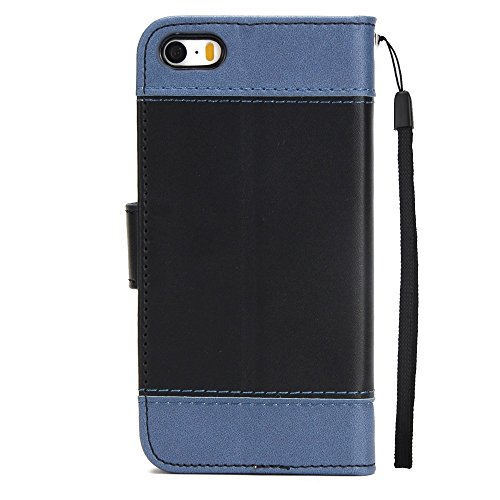 Dual Color Matching Premium PU Leder Flip Stand Case Cover mit Card Cash Slots und Lanyard für iPhone 5 & 5s & SE ( Color : Blue ) Black