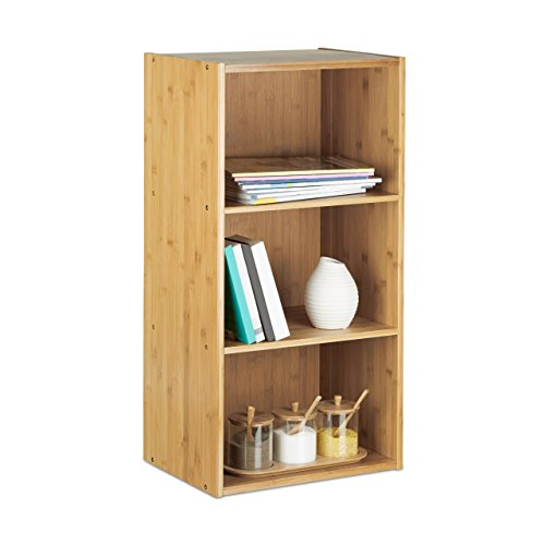 Relaxdays Bücherregal Bambus, 3 Ablagen H x B x T: 80 x 41,5 x 29,5 cm, massives Regal, Standregal, natur ('h Bücherregal)