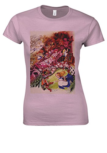 Alice in Wonderland Cartoon Anime Light Pink Women T Shirt Top-XXL (Alice Light T-shirt Womens)