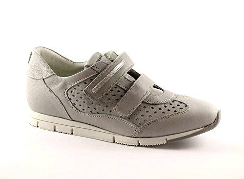 GRUNLAND ATOM SC1674 grigio scarpe donna sneakers strappi pelle Grigio