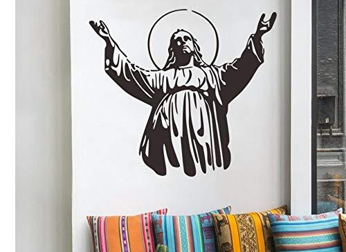 Zxfcczxf Christian Figur Jesus Wandaufkleber Wohnzimmer Schlafzimmer Dekoration Aufkleber Abnehmbare Wasserdichte Aufkleber 51 * 57 ()