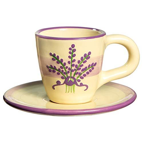 City to Cottage   Tasse et sous tasse à café   beige à motif lavande en céramique faite et peinte à la main   60ml