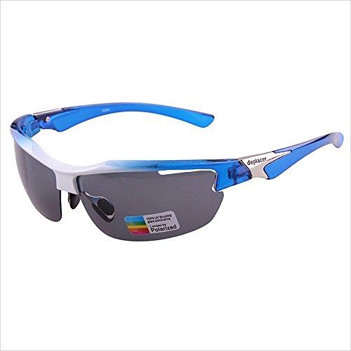 Yiph-Sunglass Sonnenbrillen Mode Sport Sonnenbrille Klassische PC Polarisierte Linsen Halbrahmen Für Outdoor Männer Frauen Radfahren Fahren Anti-UV rutschfeste (Farbe : Grau)